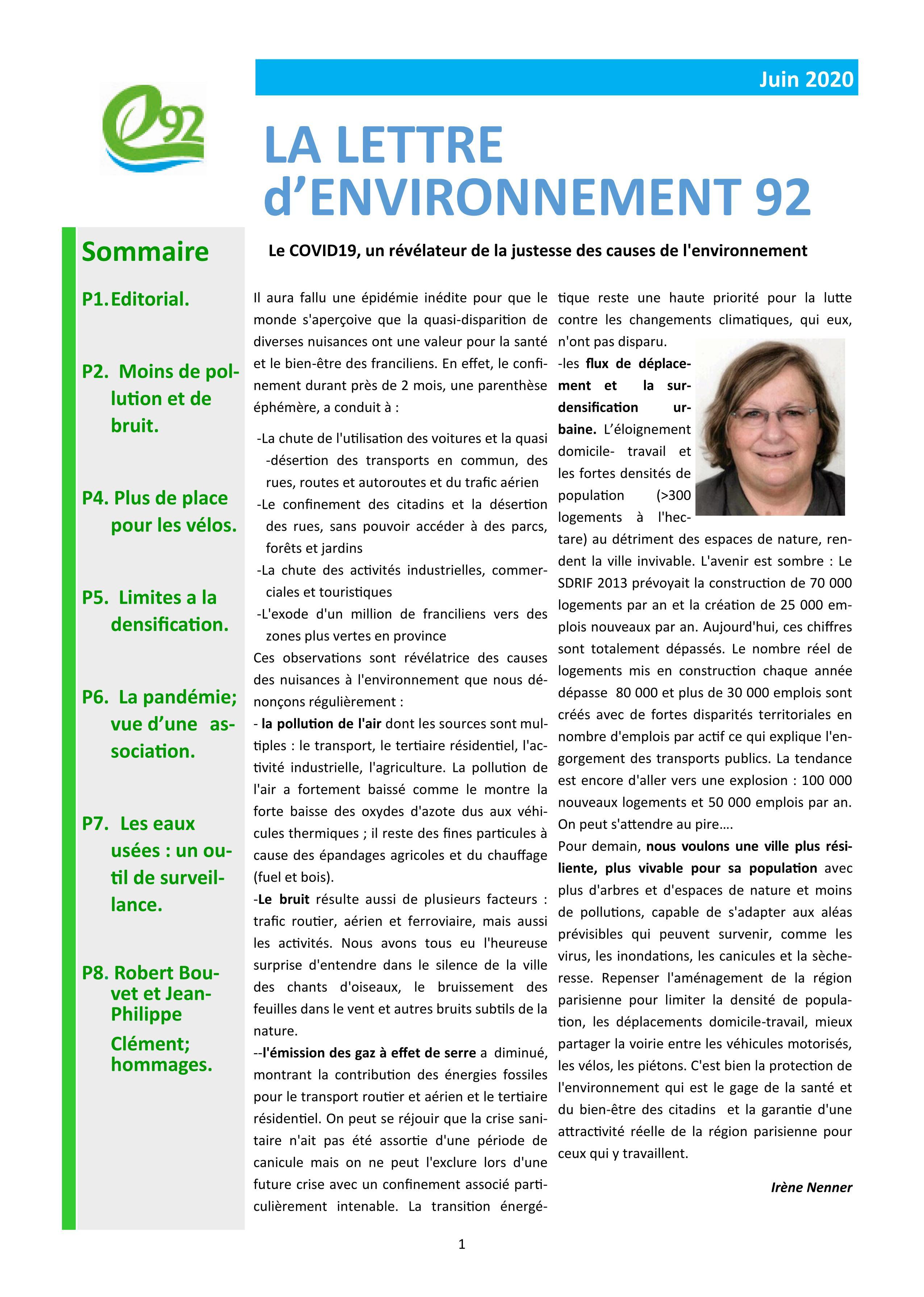 page de garde Lettre E92 juin 2020